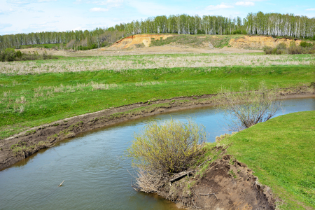 Small river Northern Unga in early summer, Kemerovo region