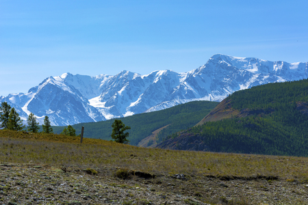 View from the Chui tract to the snow-capped peaks of the North Chui ridge, Altai Republic