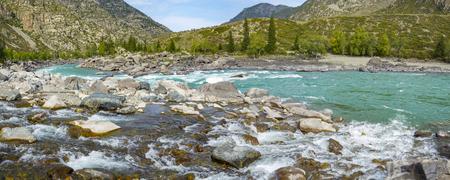 The threshold Ilgumen on the mountain river Katun, Altai Republic