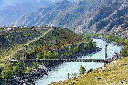 Zaplinski suspension bridge near the village of Inya is an architectural monument,  Altai Republic