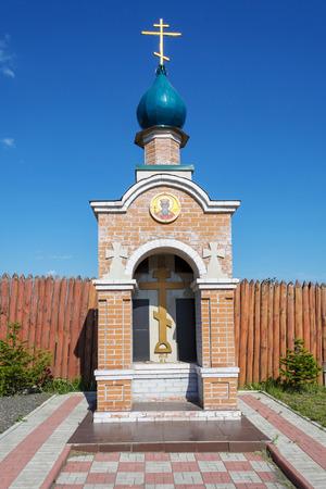 Roadside Prince Vladimir chapel in Anzhero-Sudzhensk, chapel post, Kemerovo region