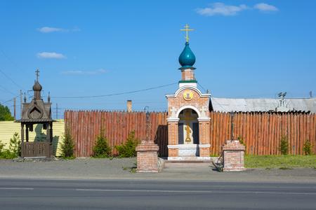 Roadside Prince Vladimir chapel in Anzhero-Sudzhensk, chapel post and belfry, Kemerovo region