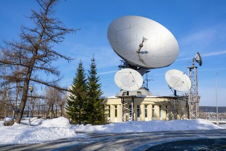 Kemerovo, receiving station of satellite TV Orbit on a clear frosty day