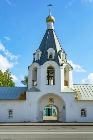 Pskov, bell tower of the Church of Michael and Gabriel Archangels from Gorodets, bright, Sunny day