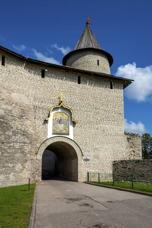 Pskov, the Great gate in the front wall of Pskov Krom, an interesting historical place