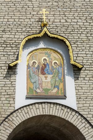 Pskov, mosaic icon of the Holy Trinity on the front wall of Pskov Krom, an interesting attraction
