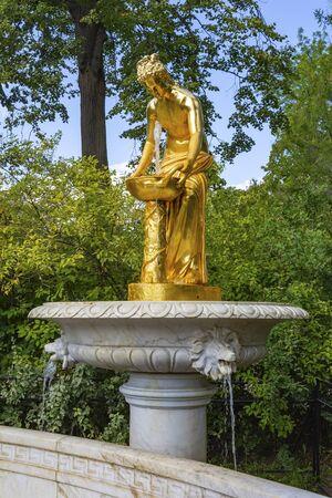 Peterhof, Nymph fountain in the Lower Park, romantic corner of the Park Stok Fotoğraf