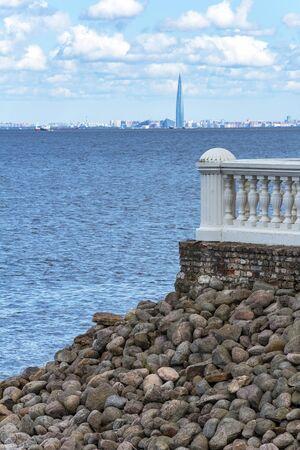 Peterhof, view of Saint Petersburg from the terrace of Monplaisir, modern urban landscape