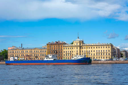Saint Petersburg, panoramic view from the Neva river to the Lieutenant Schmidt embankment