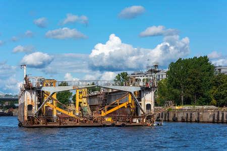 Saint Petersburg, floating ship dock on the coast of Petrovsky island