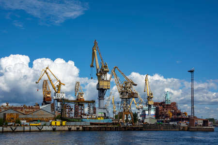 Saint Petersburg, view of the industrial district at the mouth of the Bolshaya Neva river,