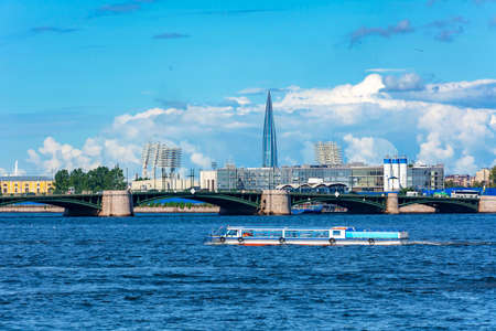 Saint Petersburg, Neva river water area near Birzhevoy bridge, modern St. Petersburg landscape 写真素材