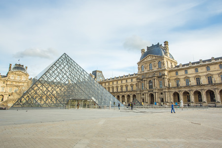 PARIS - MAY 12   Louvre Museum on August 12, 2014 in Paris, France Editorial