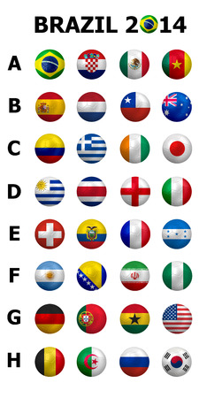 Football Soccer Championship 2014  Brazil Groups A to H  32 nation flags  3d soccer ball design