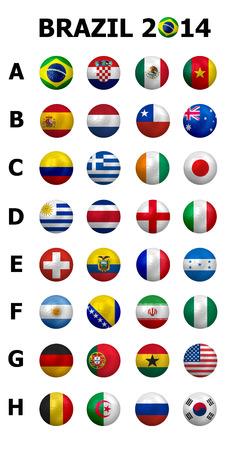 Championnat de football de football Brésil 2014 groupes A à H 32 drapeaux de la nation 3d football conception de balle Éditoriale