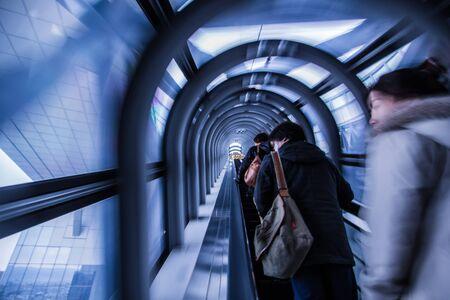 OSAKA -DECEMBER 2: Escalator Tunnel in Umeda Sky Buildingn on December 2, 12 in Osaka, Japan. It is the twelfth-tallest building in Osaka, Japan, and one of the citys most recognizable landmarks.