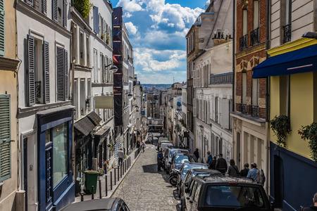 desaturated: Montmartre area in Paris , France Editorial