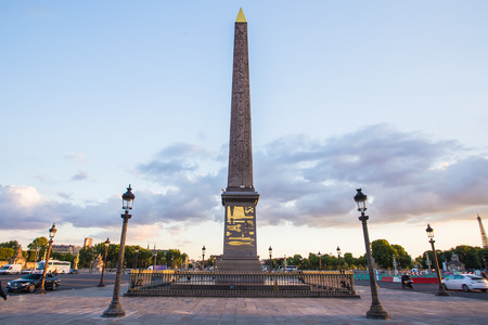 obelisk stone: Place de la Concorde and Obelisk of Luxor at Night, Paris, France