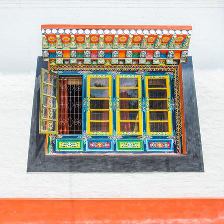 fenêtre Tibet style Sikkim, en Inde Banque d'images