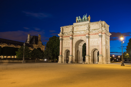 carrousel: Arc de Triomphe du Carrousel at Tuileries Gardens in Paris, France