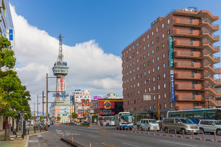 planned: BEPPU, JAPAN - NOVEMBER 29 :Beppu Tower in November 29,2014 was originally planned to open the Beppu Tourism Exhibition, held from March 20 through May 20, 1957 .Its original name was Sightseeing Center TV Tower