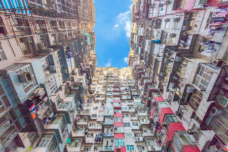 Old Colorful Apartments in Hong Kong, China. 新聞圖片