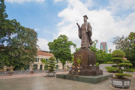 best ad: Ly Thai To statue in park near Sword lake in Hanoi, Vietnam. Ly Thai To is best known for relocating the imperial capital from Hoa Lu to Thang Long (modern day Hanoi) in 1010 AD