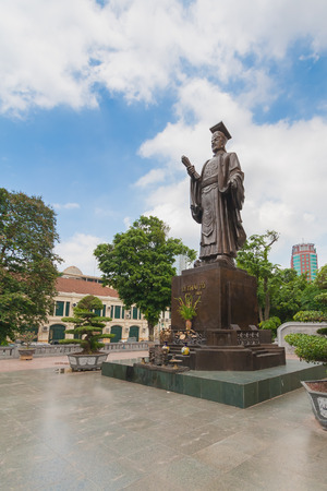 ly: Ly Thai To statue in park near Sword lake in Hanoi, Vietnam. Ly Thai To is best known for relocating the imperial capital from Hoa Lu to Thang Long (modern day Hanoi) in 1010 AD