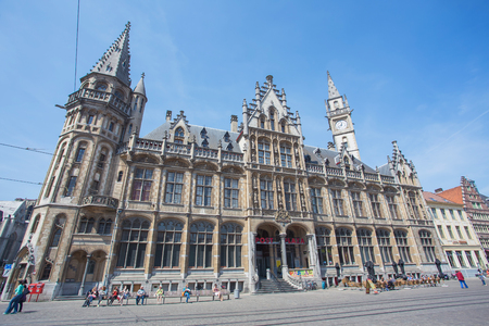 GHENT, BELGIUM - 17 MAY : The city center of Ghent, Belgium on 17 May 2014.Ghent is a city and a municipality located in the Flemish Region of Belgium.