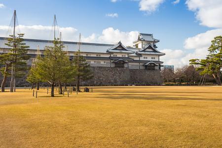 ishikawa: Kanazawa, Japan - February 15, 2015: Kanazawa castle in Kanazawa, Japan is a large, well-restored castle in Kanazawa, Ishikawa Prefecture, Japan. It is located adjacent to the celebrated Kenroku-en Garden, which once formed the castle