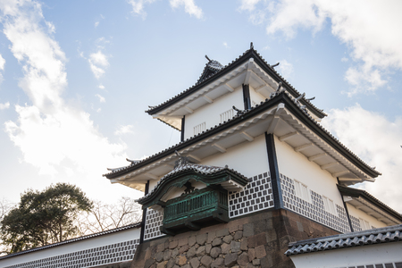 ishikawa: Kanazawa, Japan - February 15, 2015: Kanazawa castle in Kanazawa, Japan is a large, well-restored castle in Kanazawa, Ishikawa Prefecture, Japan. It is located adjacent to the celebrated Kenroku-en Garden, which once formed the castle