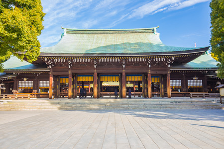 Tokyo, Japan - February 16, 2015: Meiji-jingu shrine is officially designated one of Kanpei-taisha, the first rank of government supported shrines.