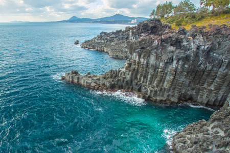 Jungmun Daepo coast with columnar joints at Jeju Island, South Korea.