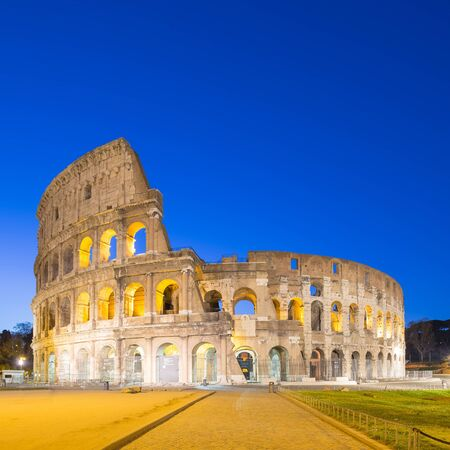 Twilight of Colosseum the landmark of Rome, Italy. photo
