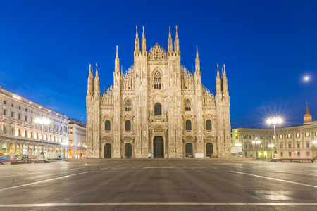 Twilight of Duomo Milan Cathedral in Italy
