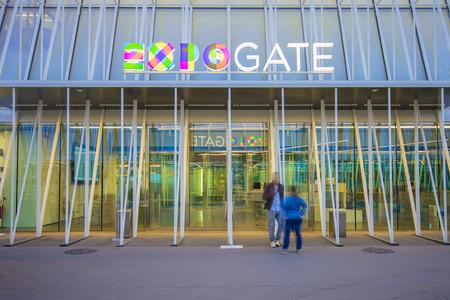 Milan, Italy - April 14, 2015: Expo 2015 Gate in Piazza Castello, Milan, Italy on April 14, 2015. Expo 2015 is the next Universal Exposition.
