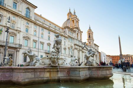 1st century: Rome, Italy - April 8, 2015: Piazza Navona is a city square in Rome, Italy. It is built on the site of the Stadium of Domitian, built in 1st century AD, and follows the form of the open space of the stadium. Editorial