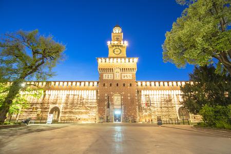 sforza: Twilight of Sforza Castle in Milan, Italy.