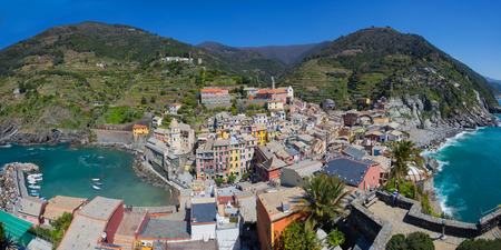 vernazza: Panorama view of Vernazza fisherman village in Cinque Terre, Italy.