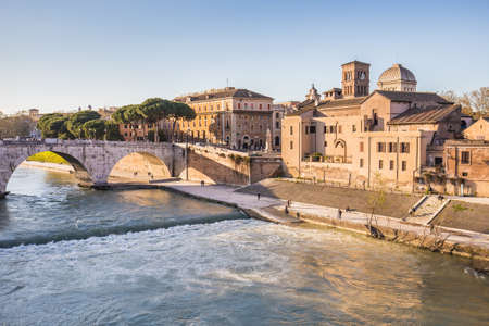 tiber: Rome Cityscape with the Tiber River. Stock Photo