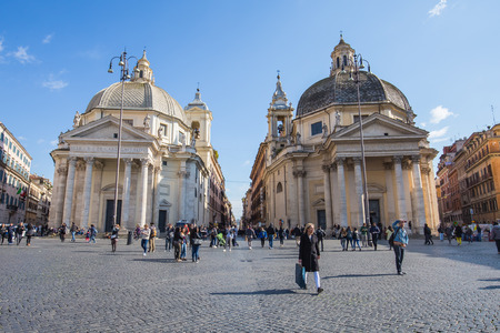 Rome Italy  April 7 2015: Piazza del Popolo is a large urban square in Rome. The name in modern Italian literally means people's square. Editorial