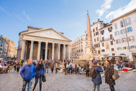 2nd century: Rome Italy  April 7 2015: Tourists visit the Pantheon in Rome Italy. Pantheon is a famous monument of ancient Roman culture the temple of all the gods built in the 2nd century. Editorial
