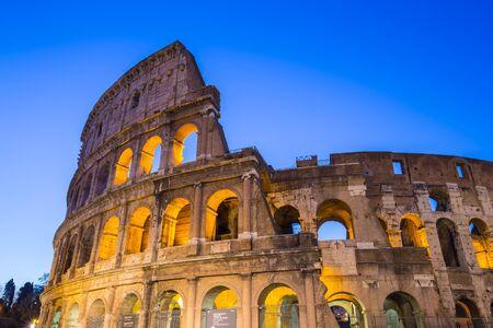 Twilight of Colosseum the landmark of Rome Italy. 版權商用圖片