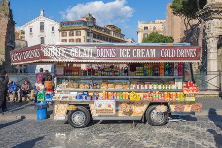 car retailer: Rome Italy  April 6 2015: The mobile stall or as known in tabacchi in Rome Italy. The tabacchi is one of the sign of Italy.