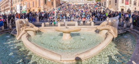 spanish steps: Rome Italy  April 8 2015: The Spanish Steps are a set of steps in Rome Italy climbing a steep slope between the Piazza di Spagna at the base and Piazza Trinita dei Monti.