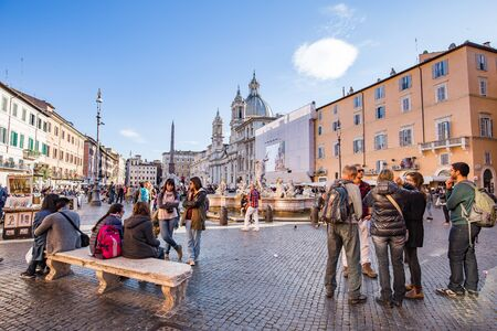 1st century ad: Rome Italy  April 8 2015: Piazza Navona is a piazza in Rome Italy. It is built on the site of the Stadium of Domitian built in 1st century AD and follows the form of the open space of the stadium.