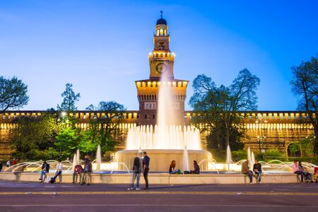 sforzesco: Milan, Italy - April 14, 2015: Sforza Castle or Castello Sforzesco is a castle in Milan, northern Italy.