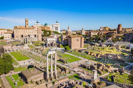 Het Forum Romanum in Rome, Italië. Stockfoto