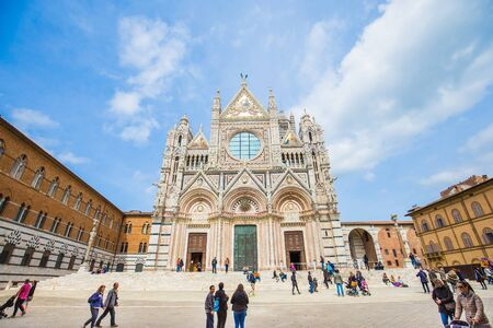 siena italy: Siena, Italy - April 11, 2015: Siena Cathedral is a medieval church in Siena, Italy. Editorial