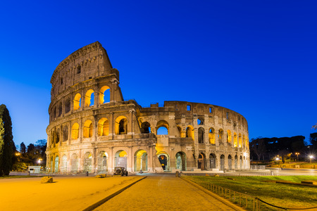 Colosseum at night in Rome, Italy.